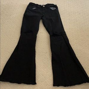 O2 denim black flare jeans